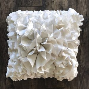 Pier 1 White Satin Ruffled Throw Pillow